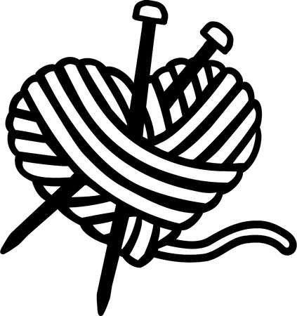 Клубок со спицами картинка черно белая