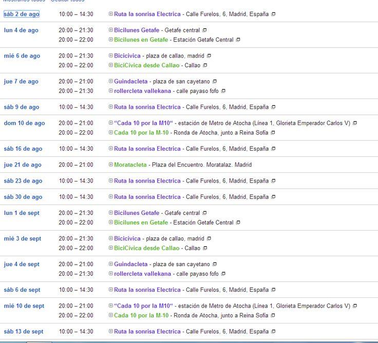 Calendario ciclista, Agosto 2014, veranito en madrid http://ciclistasurbanosmadrileos.blogspot.com.es/2014/07/calendario-ciclista-de-agosto-2014.html