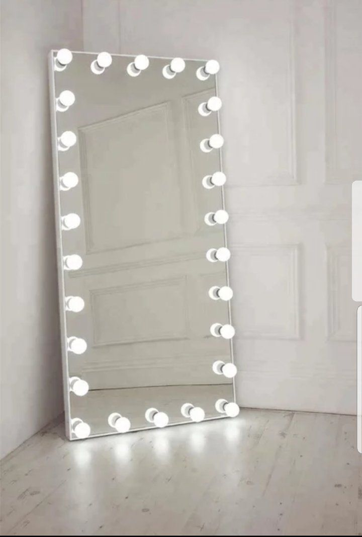 Hollywood Luxurious Frameless Vanity Dressing Full Length Mirror With Lighted Led Bulbs Big Mirror In Bedroom Bedroom Mirror Illuminated Mirrors