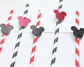 Papier Mickey Mouse pailles-Mickey Mouse bébé douche - Birthday Party Decor - Decor
