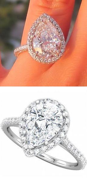 Pear Shaped Halo Diamond Ring ♥ {teardrop of Happiness} #love