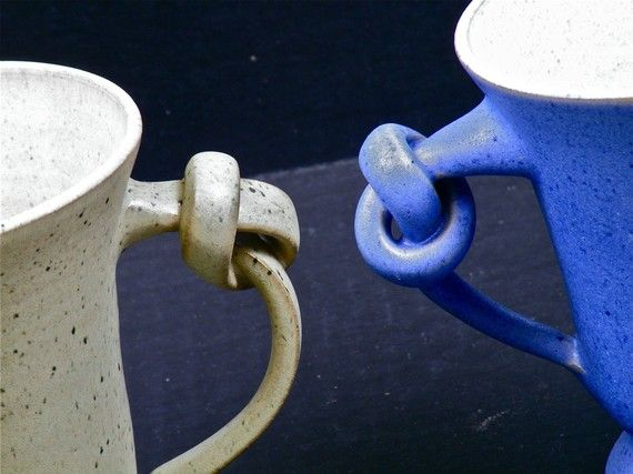 Pair of Signed Knotted Handle Pottery Mugs