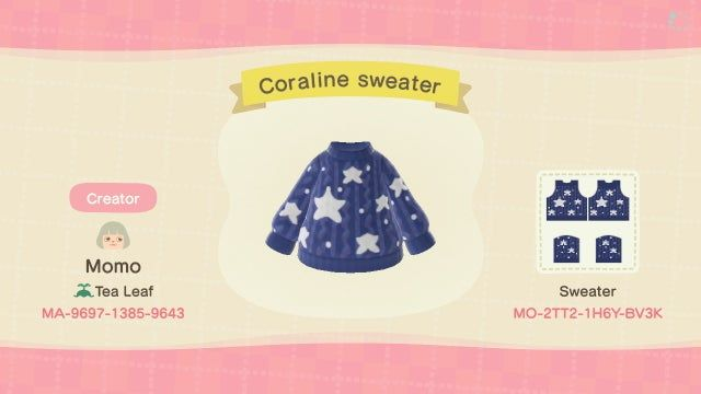 I Made The Star Sweater From The Movie Coraline Animalcrossing In 2020 Animal Crossing Animal Crossing Funny Animal Crossing 3ds
