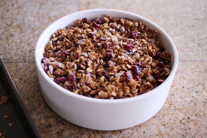 Homemade cranberry date granola