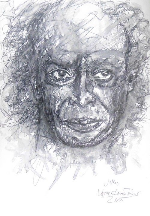 Miles Davis vs drawing with Fountainpen Pelikan Old Style m 250 - coulored up with water Ink Rohrer black April-Louise Turner 2015  Size 24 x 35 cm