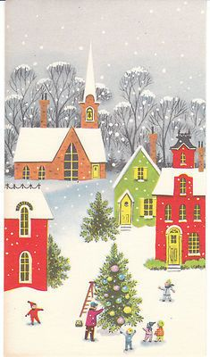 Vintage Christmas Card Mid Century Small Town Puts Up Tree Unused with Envelope   eBay