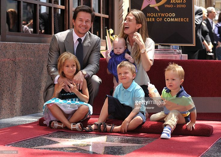 Actor Mark Wahlberg and wife Rhea Durham with their children Ella, Michael, Brendan, and Grace attend Wahlberg's Hollywood Walk of Fame Star Cermony on July 29, 2010 in Hollywood, California.