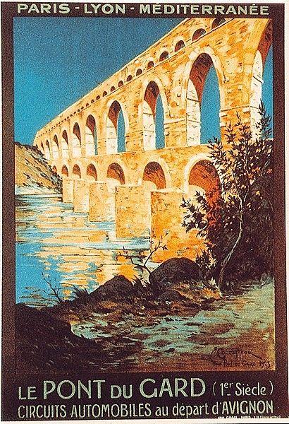 Vintage Travel Poster - Pont du Gard - Avignon - Provence - France.