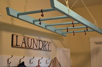 Awesome clothes dryer from an upcycled wooden ladder!!!! Love!