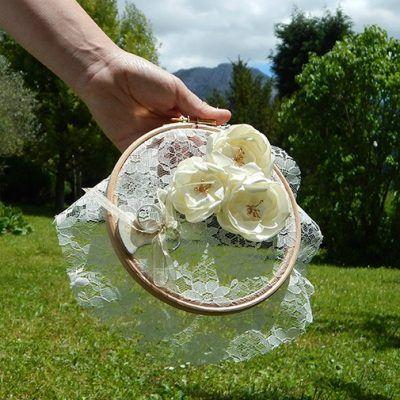 Porta Alianzas Encaje y Flores de raso www.arorua.es
