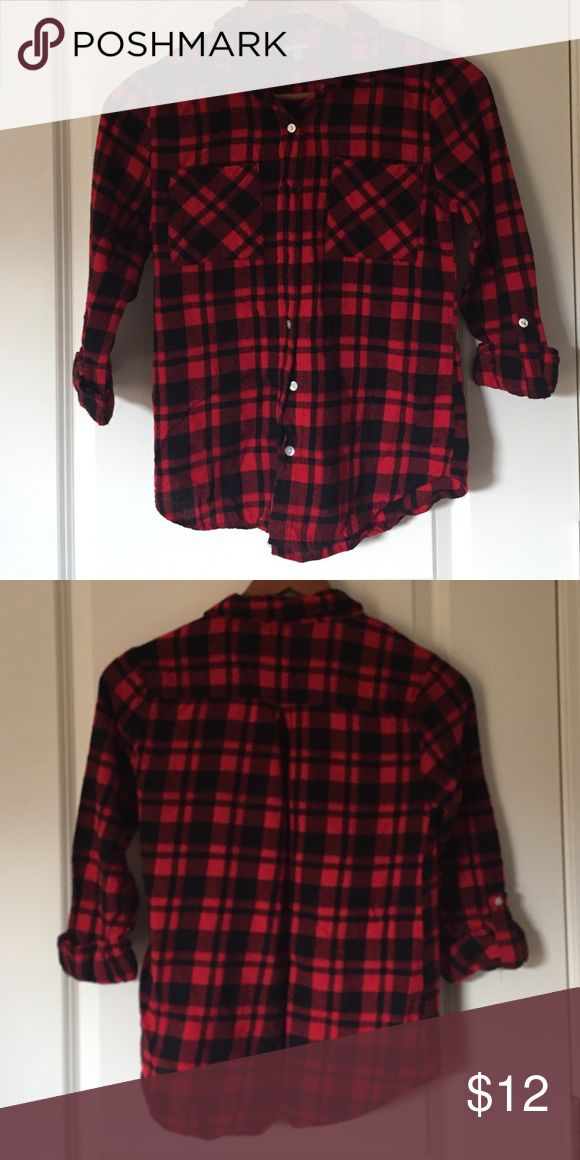 Red and Black Flannel Shirt Super cute flannel. Made of cotton. Quarter sleeves that roll down. Perfect condition. Charlotte Russe Tops Button Down Shirts