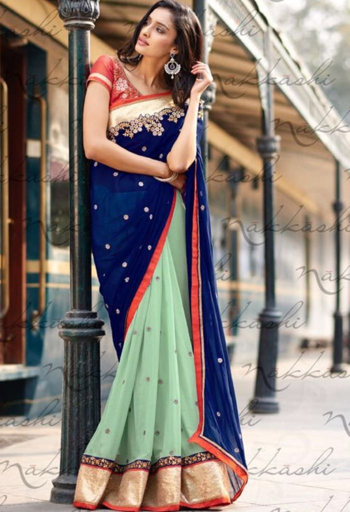 Green Georgette Designer Saree 4054
