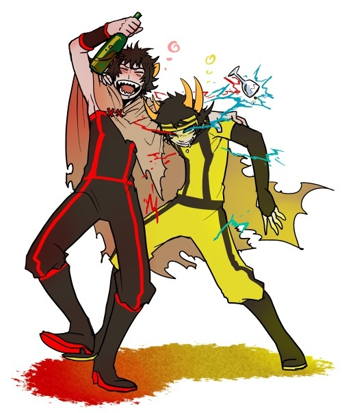 Best friends until the toilet-hurling end, The Signless and The Helmsman, one of the best friendships on Homestuck