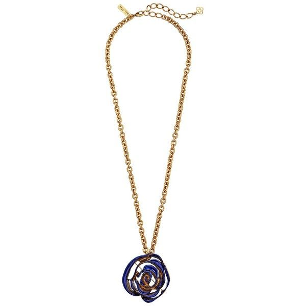 Oscar de la Renta Resin Painted Flower Brooch Necklace, Navy ($158) ❤ liked on Polyvore featuring jewelry, necklaces, navy, body chain jewelry, squash blossom necklace, resin jewelry, womens jewellery and flower pendant necklace