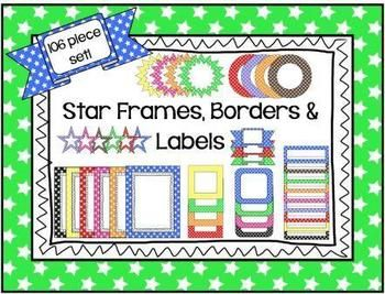 Stars Frames, Borders & Labels - 106 Piece Classroom Set! Includes: A variety of cover pages designs, frames, call outs, desk tags, labels, ribbons, squares, circles & of course STARS!   106 graphics in all! 9 different colors!  All images are png graphic files.  You can easily add your own clip art and text to personalize each graphic.  Graphics come in a zipped file with 106 png images and 2 pdf files.  Easy to download, personalize and print! ~By Kim Miller