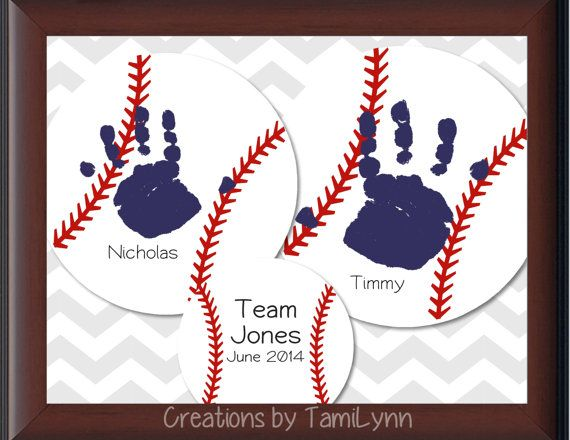 30 best mothers dayfathers day images on pinterest baby crafts baseball handprint personalized by creationsbytamilynn on etsy 2500 for fathers day negle Images