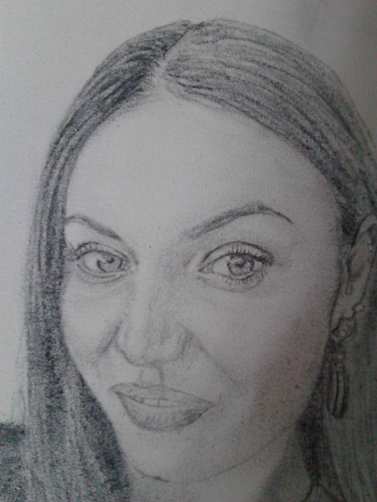 Portret feminin,pe panza ,grafit.   ////    Female portrait on canvas, graphite