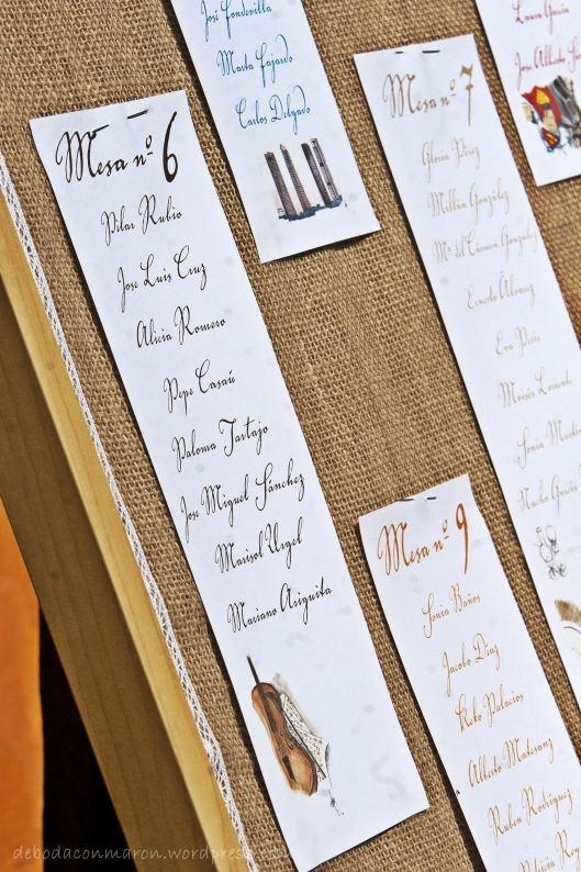 protocolo mesas seating plan boda campestre de boda con maron acuarelas encaje vintage tela saco 1