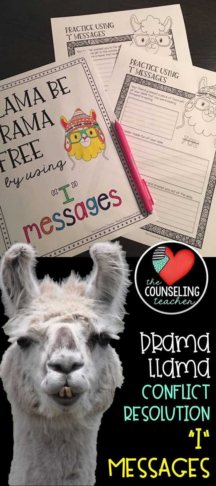 "The drama llama is back with these ""I"" messages to help with conflict resolution.  Upper elementary and middle school counselors and teachers can use these skill sheets to improve friendship skills and remove drama from the classroom."