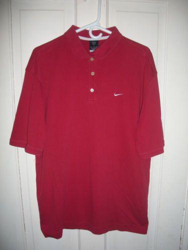 Mens-Large-Nike-Dri-Fit-Polo-Golf-Red-Shirt