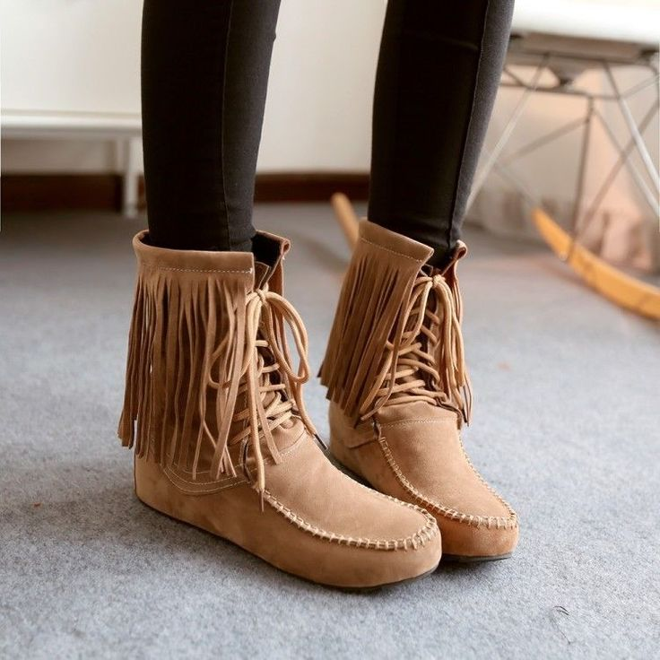 Women's Moccasin Ankle Boots Tassel Lace Up Espadrilles Loafers Flats Oxfords