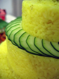 Cucumber detail, and tumpeng making step-by-step
