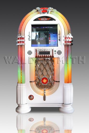 Rock-Ola Bubbler Digital Music Center Jukebox - Deluxe Piano White (high gloss finish)