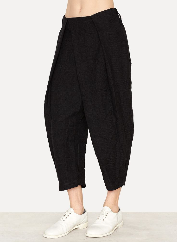 Black Hemp Wool Pleated Pant - Lost & Found Ria Dunn