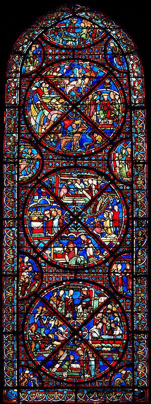 Bourges Cathedral (Cathédrale Saint-Étienne de Bourges)   An Ambulatory Window, Bay 15 The invention of the relics of St Stephen. The windows of the ambulatory date to the early 13th century. #stained-glass #vitraux