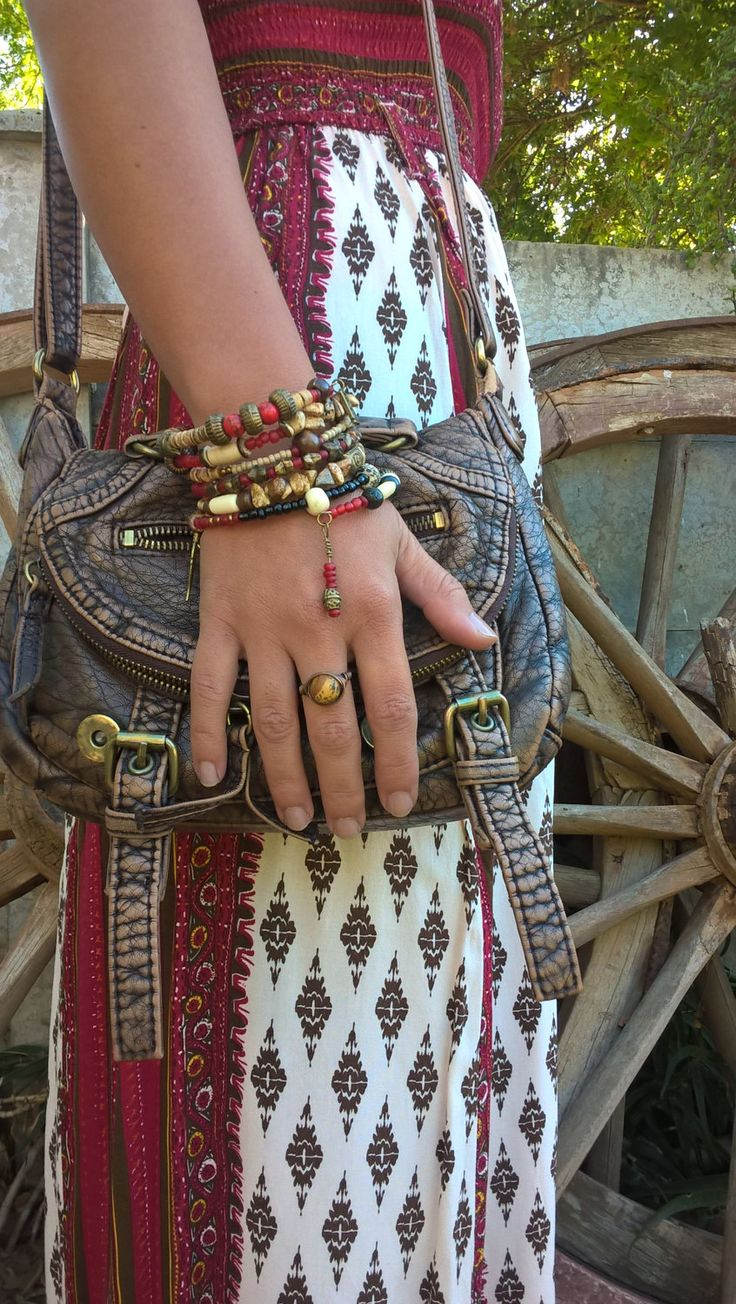 Rustic African Tribal Stack Bracelet, Red and Brown  Bracelet, Bohemian  Bracelet, AhyokaByBernice on Etsy, Handmade in South Africa by AhyokaByBernice on Etsy
