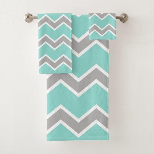 Aqua Blue Gray Grey Chevron Pattern Print Girl Bath Towel Set
