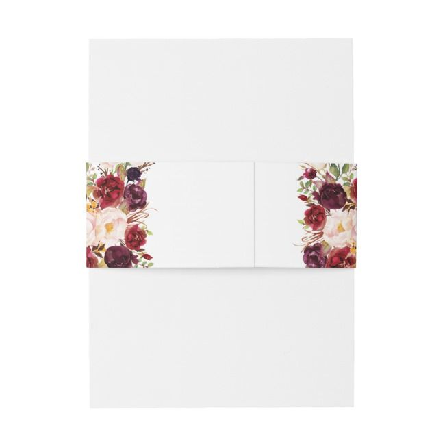 Burgundy Red Floral Rustic Boho Wedding Invitation Belly Band | Zazzle.com