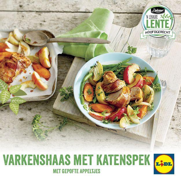 Recept voor varkenshaas met katenspek met gepofte appeltjes #Lente bij #Lidl #hoofdgerecht