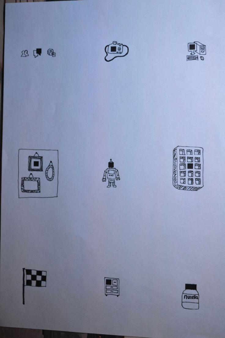 Facebook icoontjes - camera - computer - fotokaders - robot - wafel - geblokte vlag - kast - Nutella