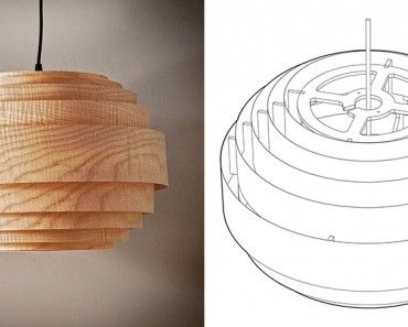 Wood Veneer Boll Lamp