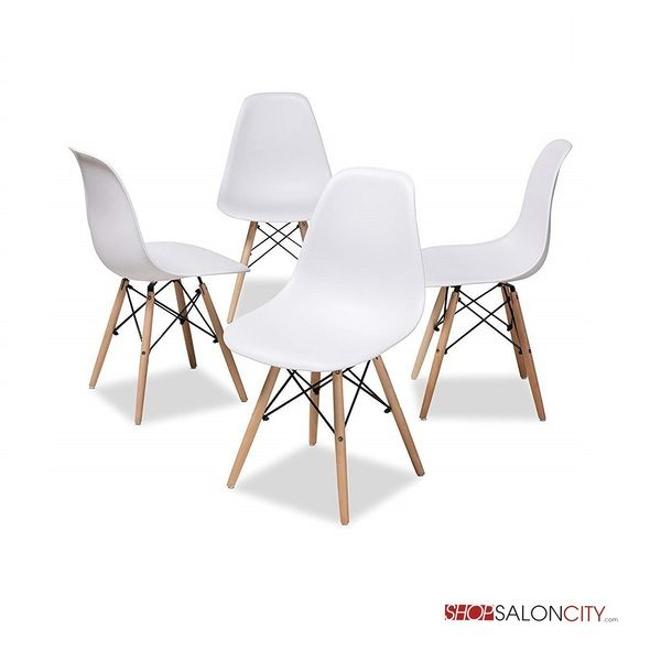 Analisa Eames Style Leisure Chair Set Of 4 In 2020 Acrylic Dining Chairs White Dining Chairs Dining Chairs