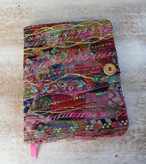 COMPOSITION BOOK COVER  Quilted Embroidery by RiverBendRanchStudio
