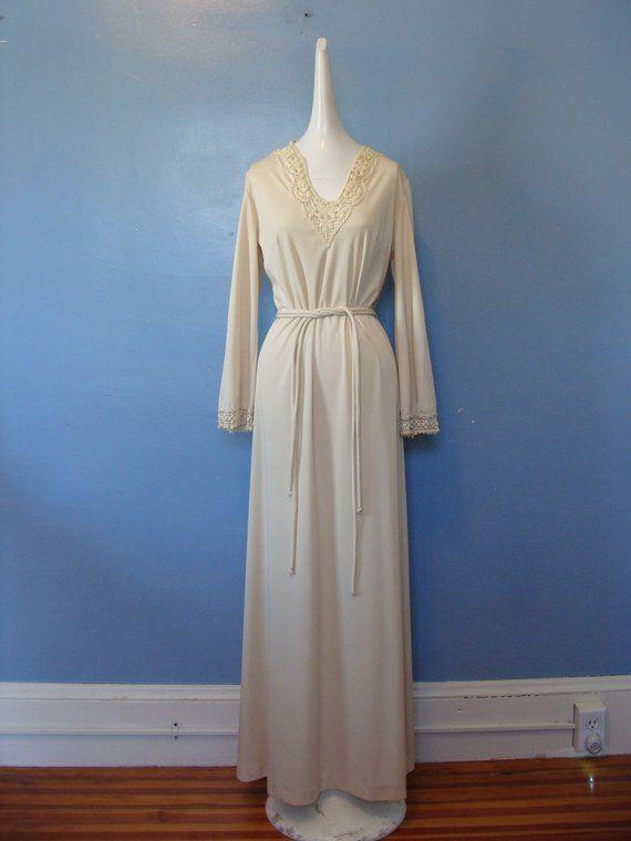 1aa260d2082 Vintage Boho Maxi Dress 70 s Crochet Trim Bohemian Minimalist Neutral Long  Sleeve Dress Flowy Belted