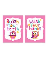 A heap of color, a touch of whimsy and coordinating designs: It's never been easier to add instant appeal to a bathroom wall, not to mention give a friendly reminder to the kids. These prints are finished with colorful borders that are perfect for framing, so the only hard part is figuring out where to place them!Includes two printsAvailable in two sizes<...