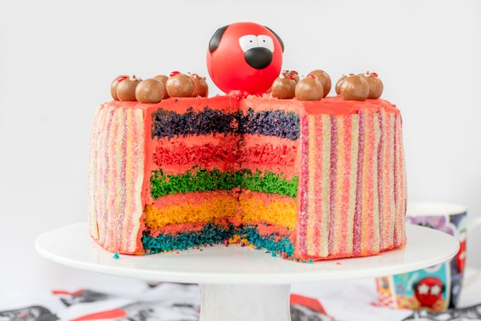 Colourful Layers, Vimto Buttercream And Fizzy Rainbow Belt Coating – Finished Off With Little Malteser Faces! All the right ingredients for a wacky Red Nose Day Rainbow Cake!