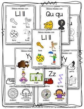 Posters Y Tarjetas Sílabas Iniciales En Palabras Con Ll Qu Y Z Bundle Word Cards Cards Initials