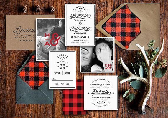 HIPSTER PLAID Invitation Suite by KLynxDesigns on Etsy