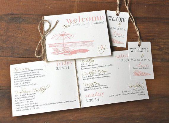 Beach Romance Small Peach Beach Wedding Itinerary Booklets