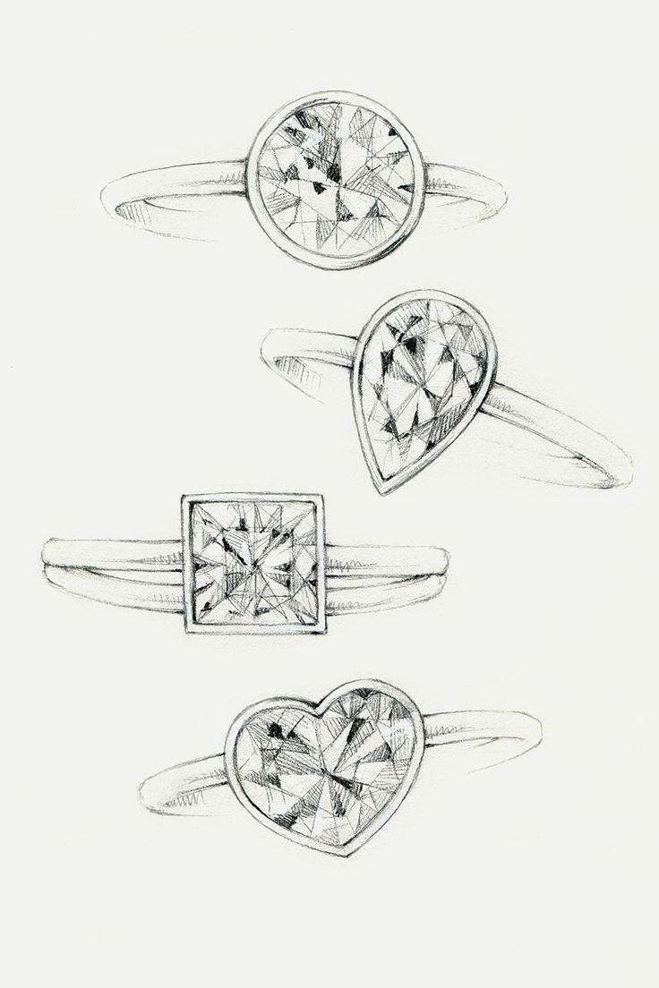 Sketches of Tiffany Bezet diamond engagement rings. #TiffanyPinterest