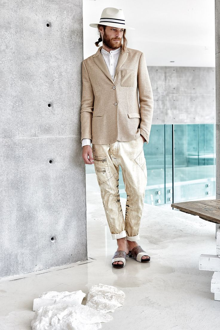 #danieladallavalle #mancollection #riccardocavaletti #ss16 #jacket #sand #beige #white #shirt #pants #jeans #brown #clogs #white #hat