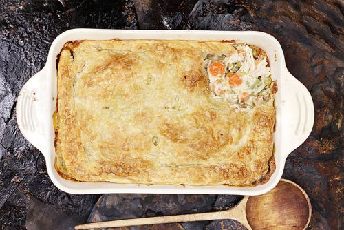 This chicken pie is a firm family favourite. Freeze it and it can be cooked straight from frozen.