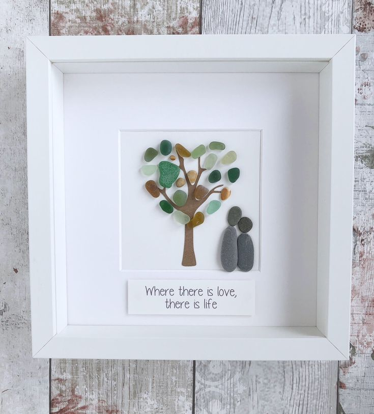 A personal favourite from my Etsy shop https://www.etsy.com/uk/listing/583263751/handmade-pebble-art-sea-glass-art-couple