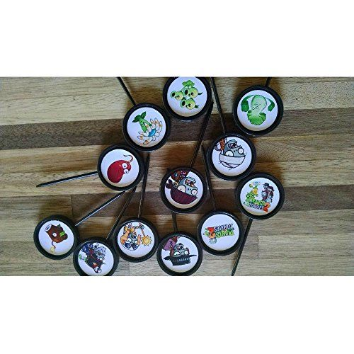 12 PLANTS VS ZOMBIES birthday party cupcake topper food picks favor @ niftywarehouse.com #NiftyWarehouse #PlantsVsZombies #Zombies #Gaming #VideoGames #Zombie