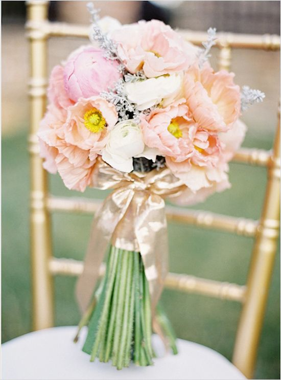 Romantic peach wedding bouquet // Floral Design:  Reverie Events // Photography:  Kay English Photography