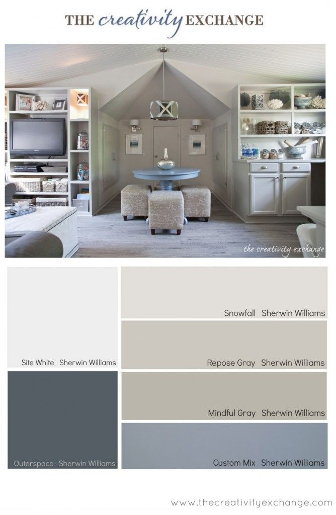 Paint colors used for office/craft room revamp from The Creativity Exchange #colorpalette #paintcolor